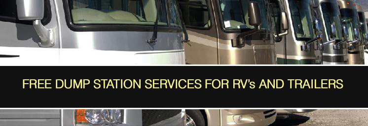 Free dump station services for RVs and Trainers